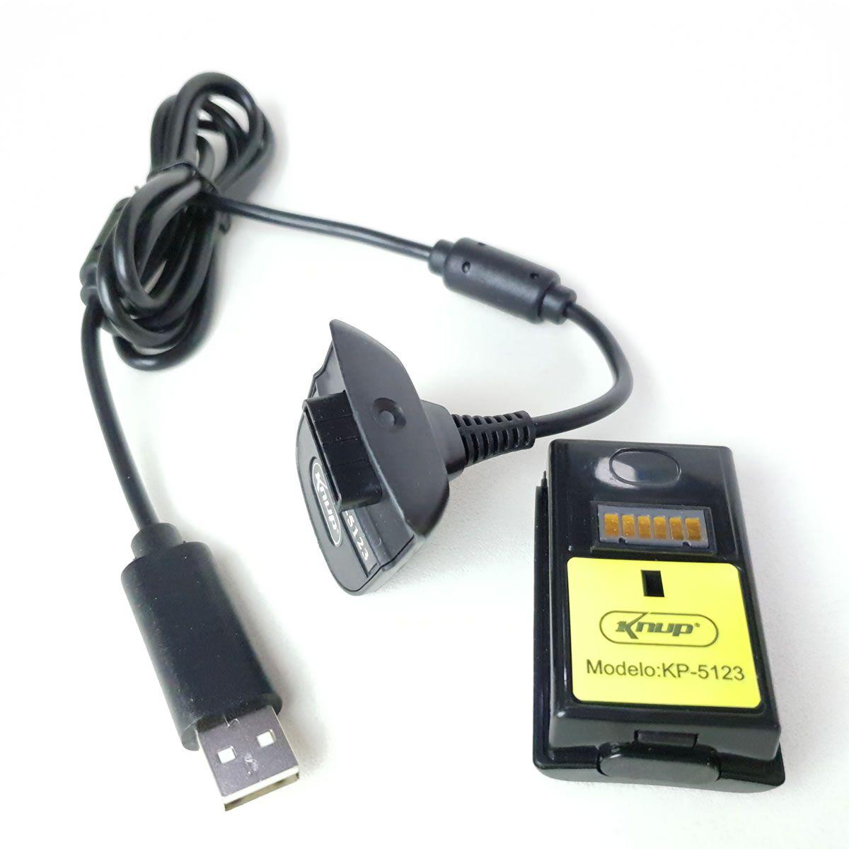 Kit Bateria Com Carregador Para Controle XBOX 360 Knup KP-5123