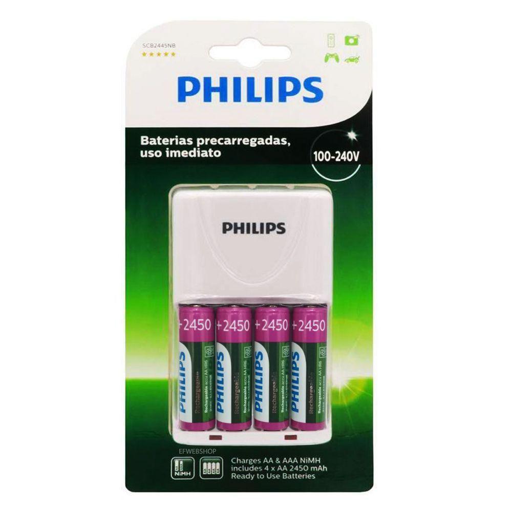 Kit Carregador de Pilhas 4x AA AAA Branco SCB2445NB Philips