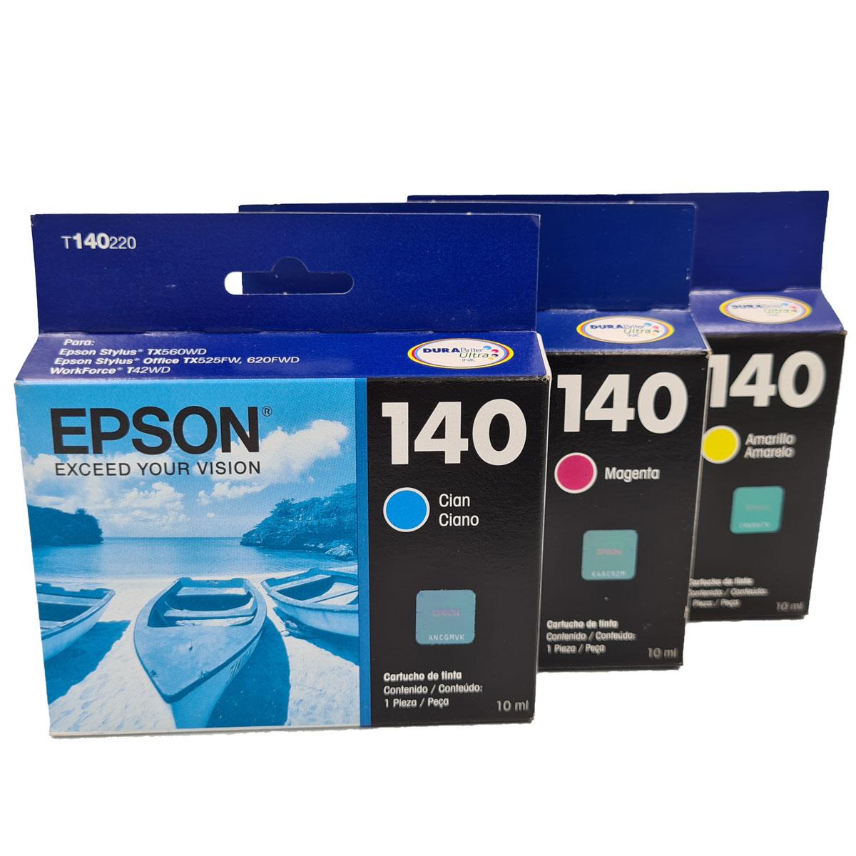 Kit cartucho coloridos EPSON T140 para impressoras Tx560WD T42WD Tx525FW