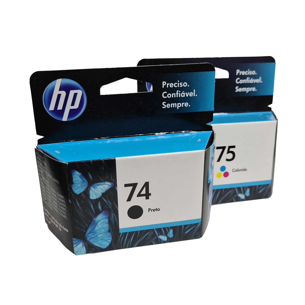 Kit Cartucho HP 74 75 CB335WL Preto e Colorido para D4260 C4280 D4360
