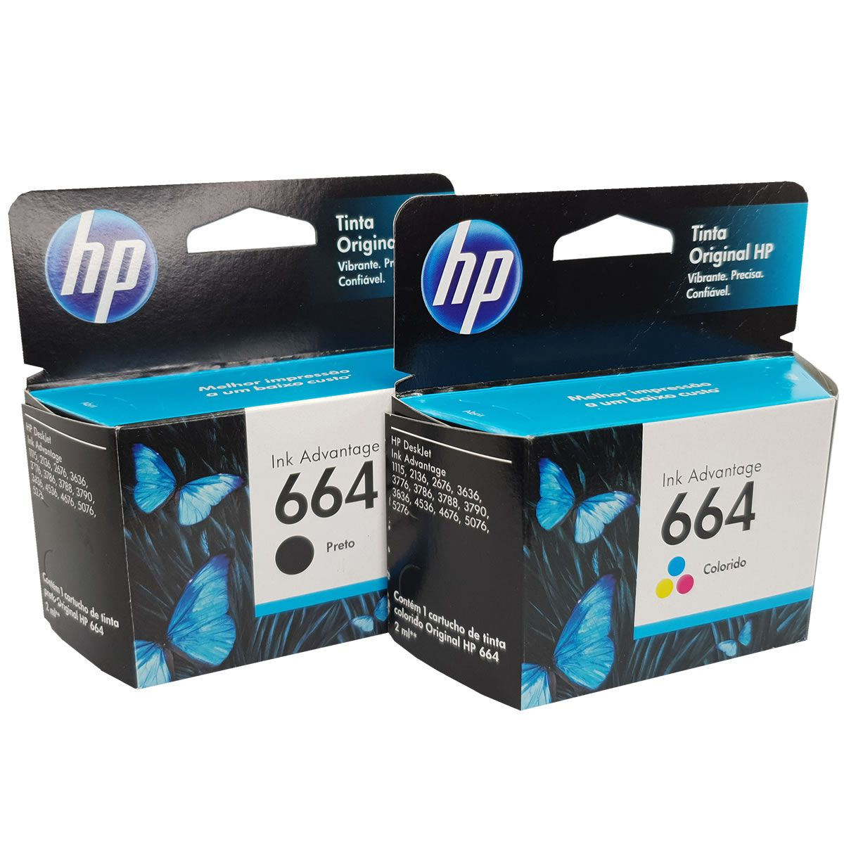 Kit Cartuchos Hp 664 1 Preto E 2 Coloridos Originais para 1115 2136 3636 3836 4536 4676