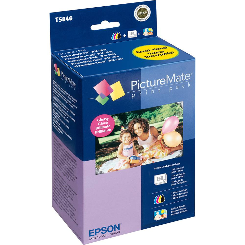 Kit com 150 papeis foto 10x15cm e cartucho para Epson Picture Mate PM200 PM225 PM240 PM260 PM280 PM290 PM300 T5846