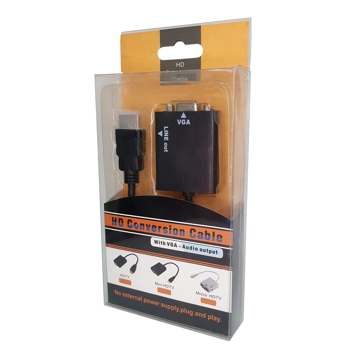Kit com 2 Cabos Adaptadores Conversores HDMI x VGA Saída de Áudio P2