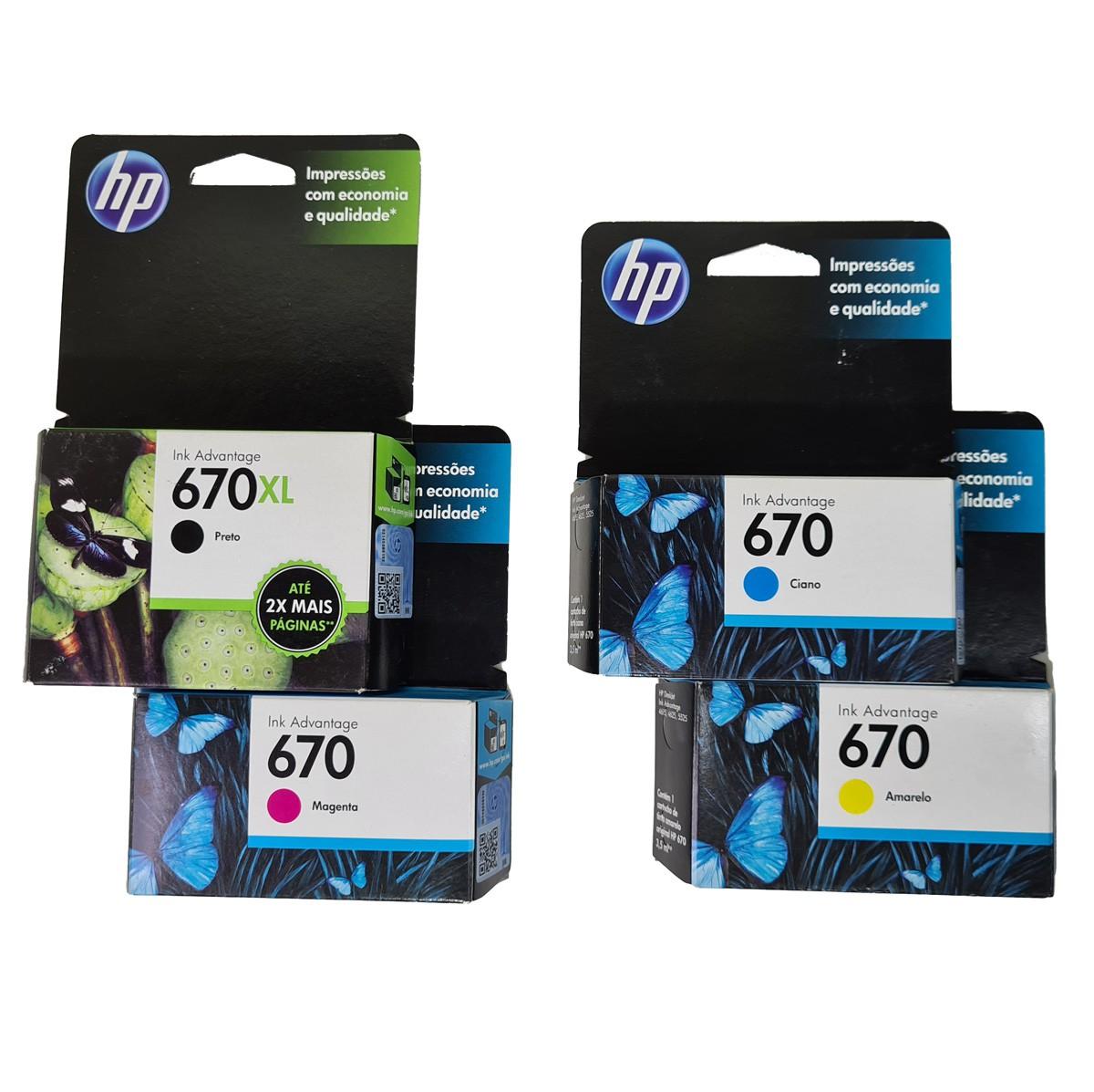 Kit com 3 HP 670 coloridos e 1 670XL Preto Original