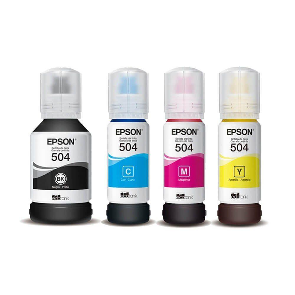 Kit 4 refil de tinta T504 preto e colorido para Epson L6161 L6191 T504 T504120 T504220  T504320 T504420