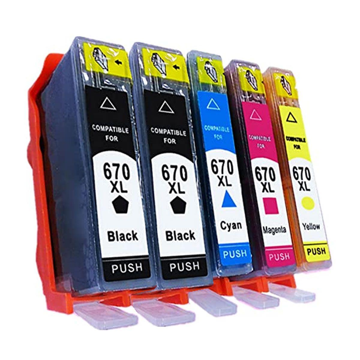 Kit Com  5 Cartuchos Compatíveis 670 XL 670XL CZ117AB CZ118AB CZ119AB CZ120AB  para 3525 5525 4615