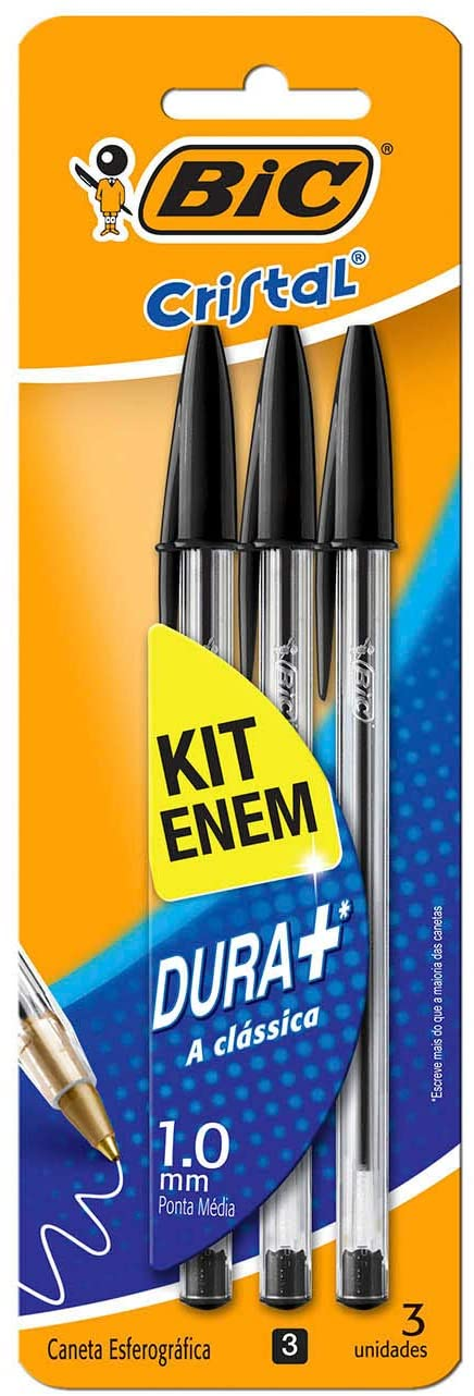 Kit Concurso ENEM com 3 Caneta Esferográfica Preta Cristal 1.0mm BIC