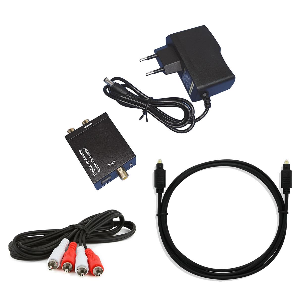 KIT conversor de Audio Optico X RCA com cabos para TV Home Theater
