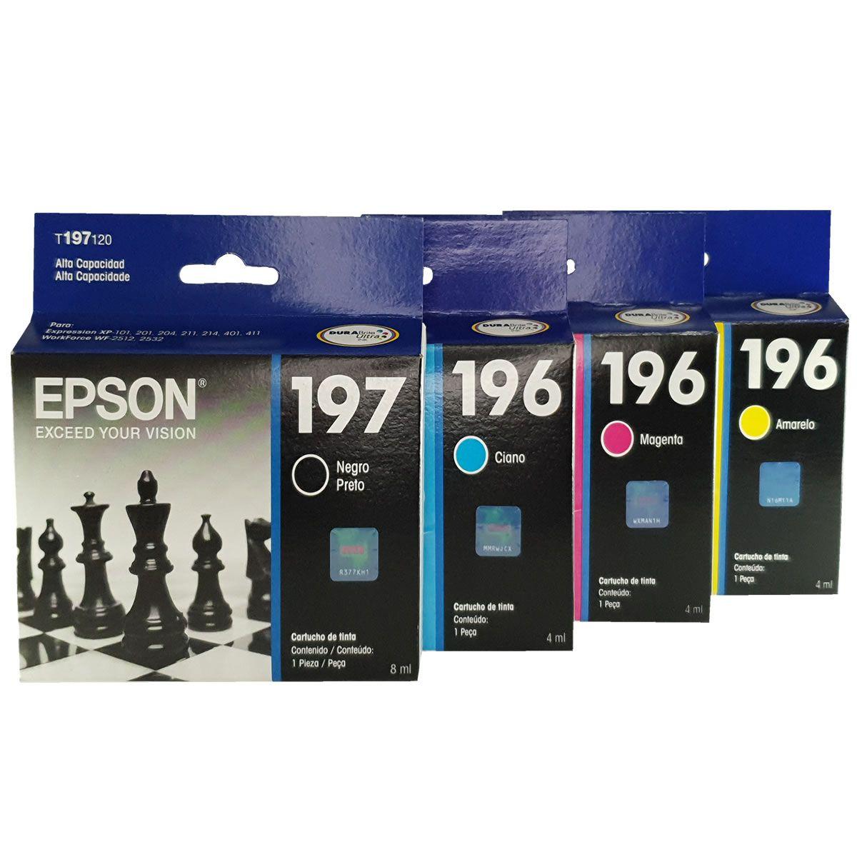 Kit de Cartuchos EPSON 197 196 para Xp201 Xp214 401 Wf2512 T197 T196