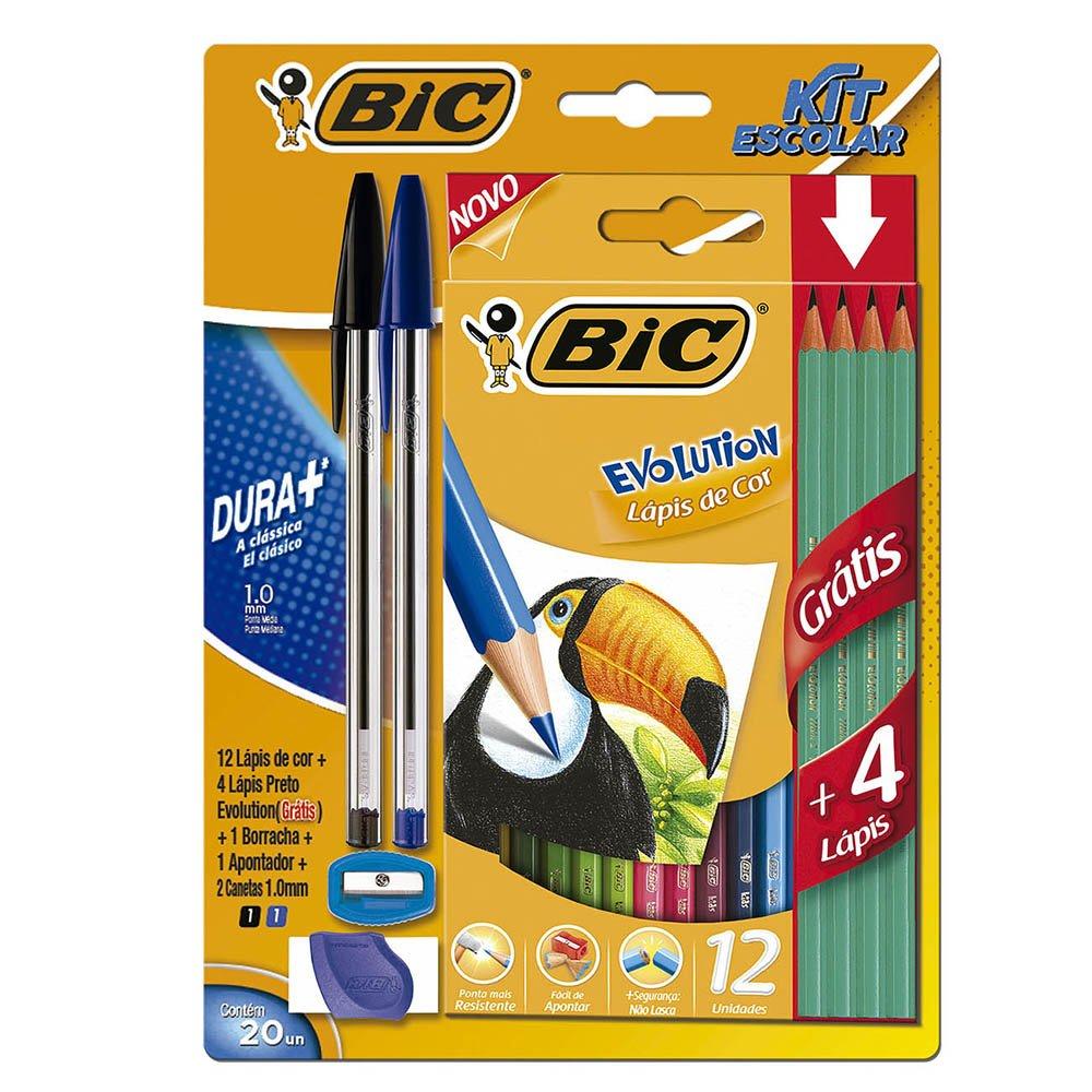 Kit Escolar Caneta BIC 12 Lápis de Cor 4 Lápis 2 Canetas Borracha Apontador