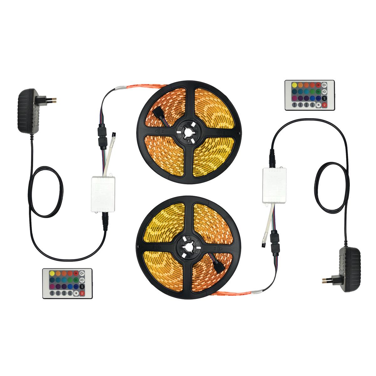 Kit Fita LED RGB 5050 10m com Controle Remoto e Fontes