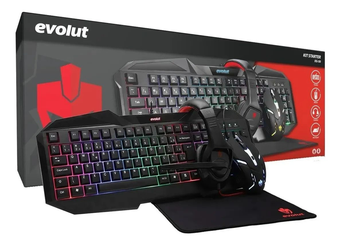Kit Gamer Starter Teclado Mouse Headset e Mousepad com LED
