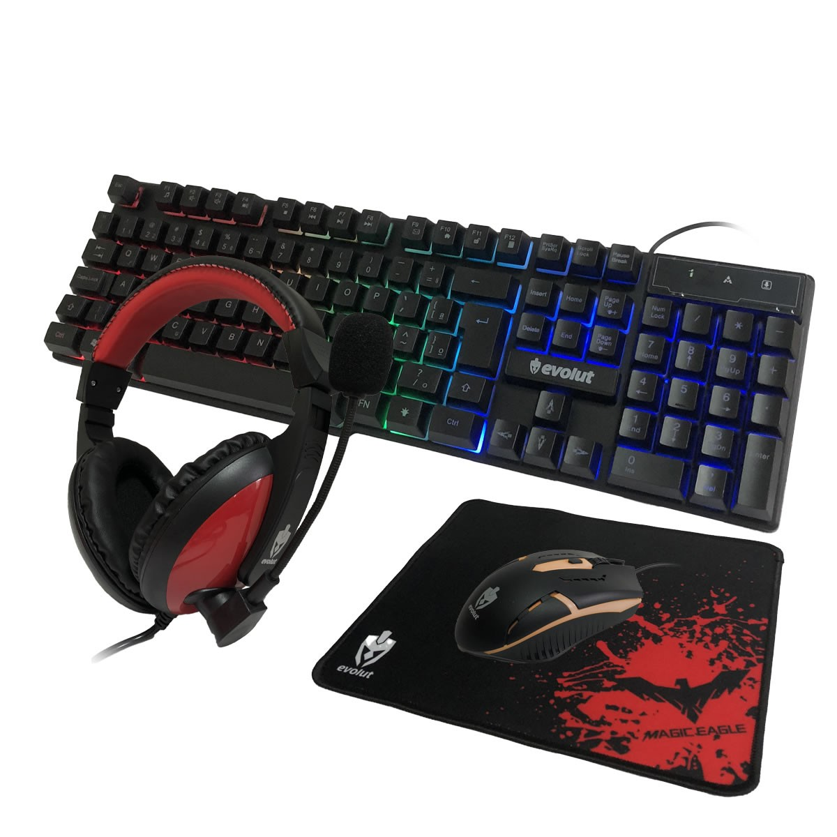 Kit Gamer Teclado Mouse Mousepad Headset Starter EG-51 Evolut