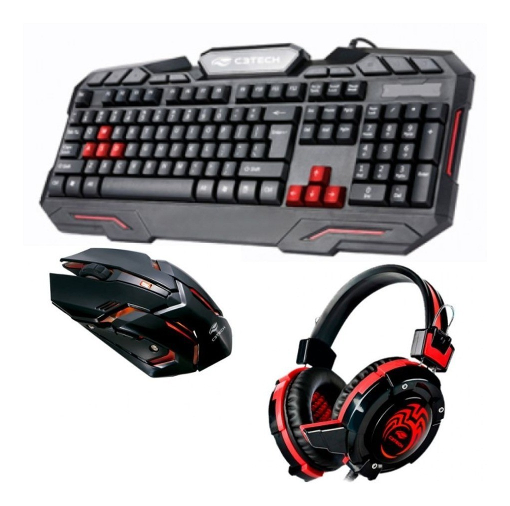Kit Gamer Teclado Mouse Headset com LED RGB GK-100 C3Tech