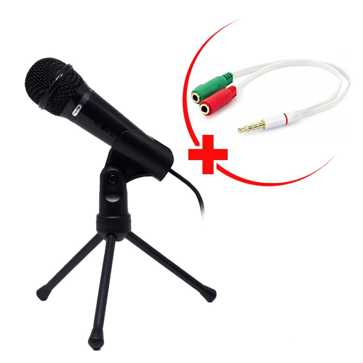Kit Microfone com Suporte de mesa e Adaptador para Celular