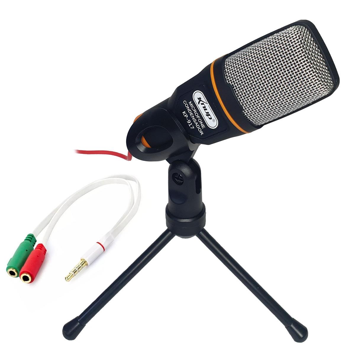 Kit Microfone com Tripé de mesa e Adaptador para Celular