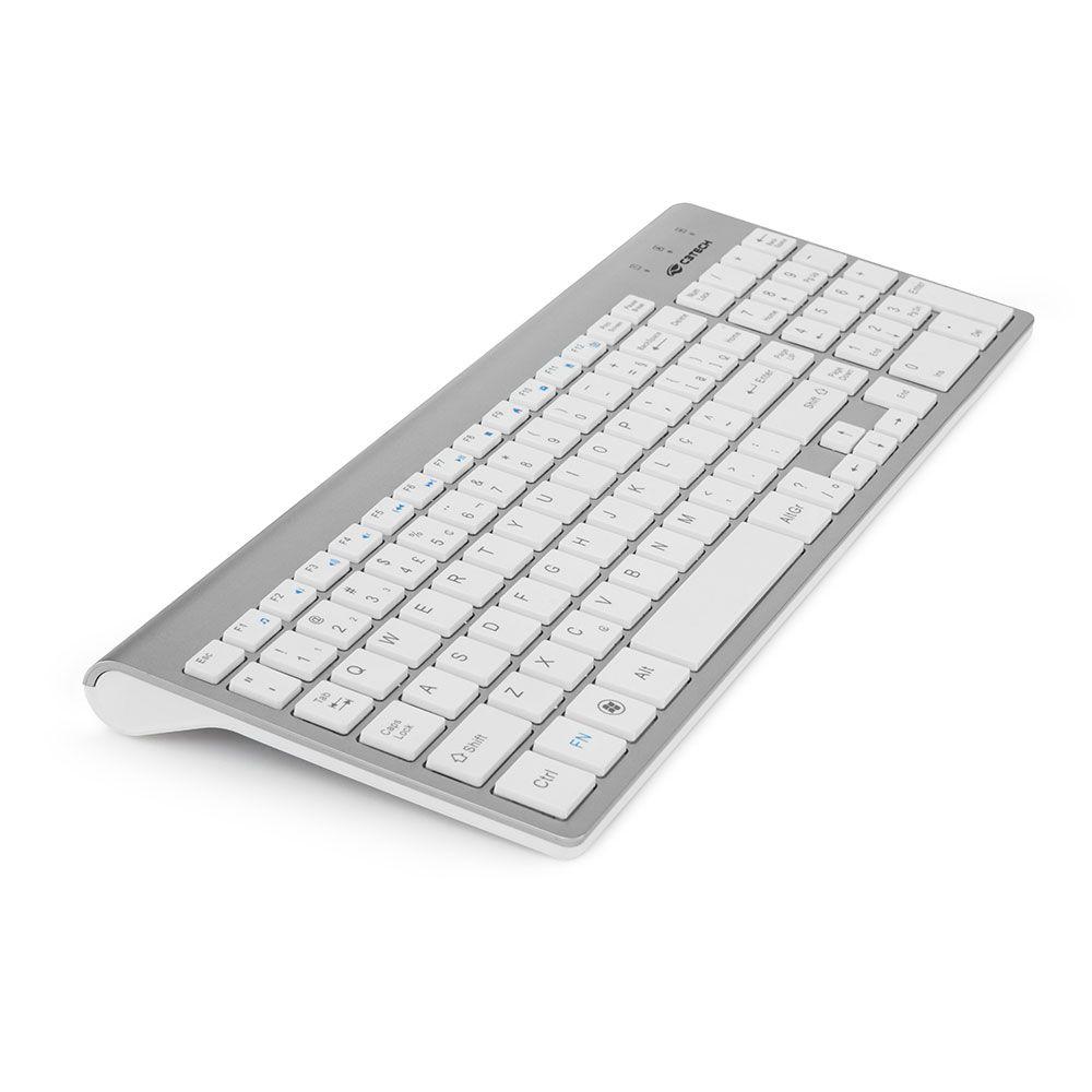 Combo Teclado e Mouse Sem Fio Prata K-W510 C3Tech