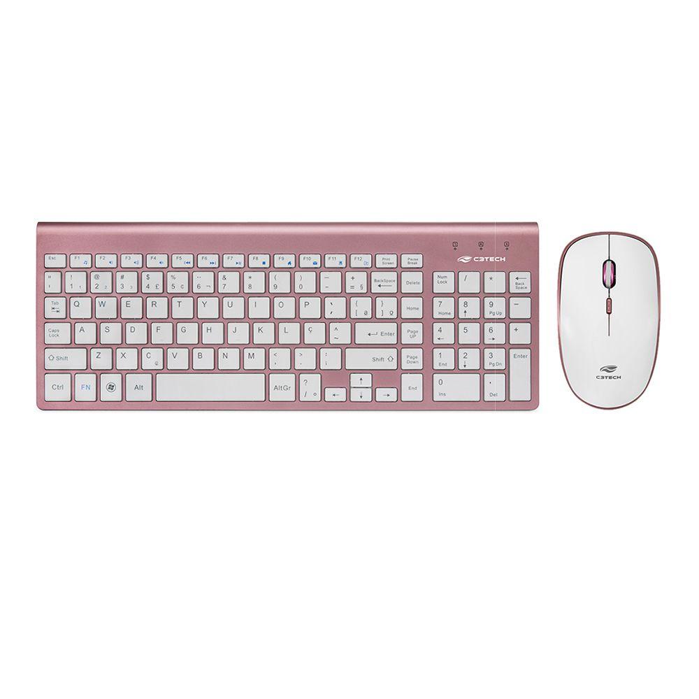 Combo Teclado e Mouse Sem Fio Rosa K-W510 C3Tech