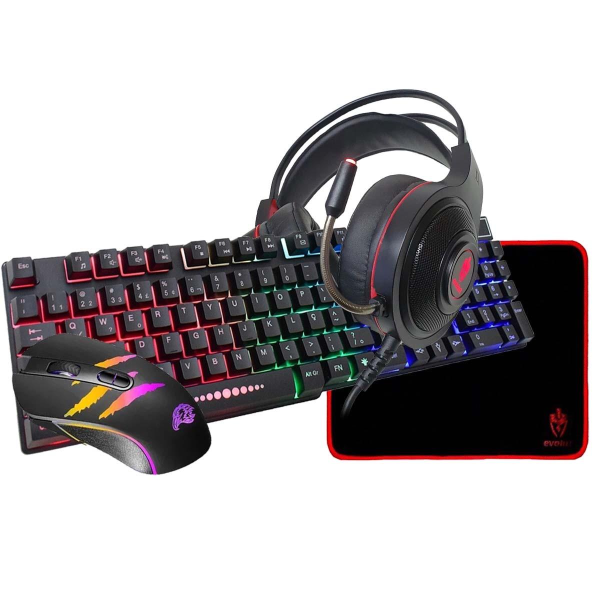 Kit Teclado Mouse Headset Mousepad Gamer Com LED RGB