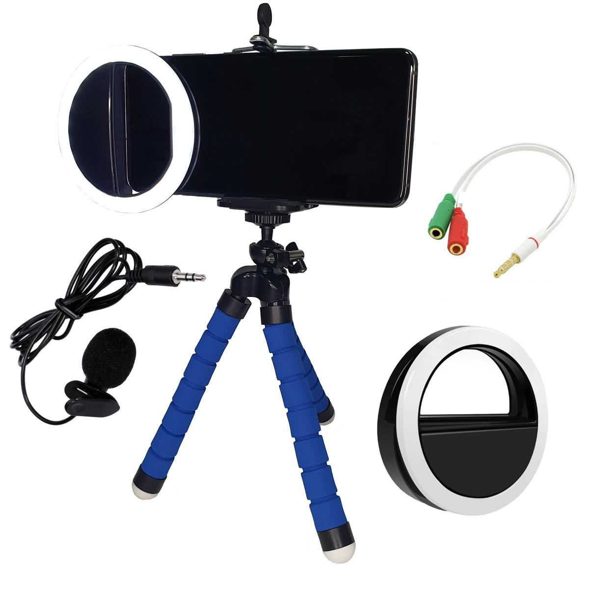Kit Youtuber Stories com Tripé Microfone Ring Light Selfie Cabo Adaptador