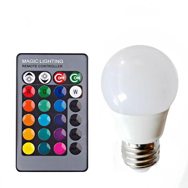 Lâmpada LED Multicor RGB com controle 5W