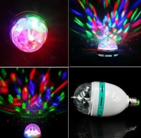 Lâmpada RGB para Festa com Adaptador de Tomada LEY-07 Lehmox