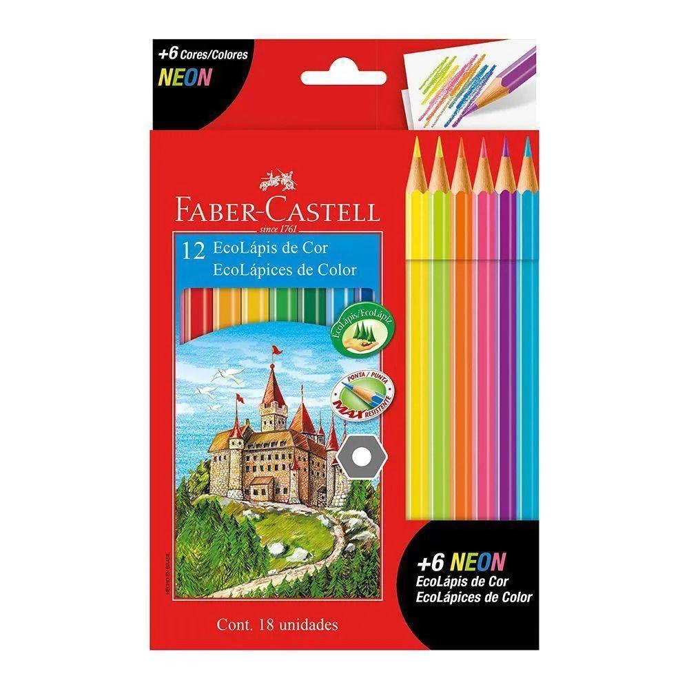 Lápis De Cor 12 Cores Ecolápis + 6 Lápis De Cor Neon Faber-castell