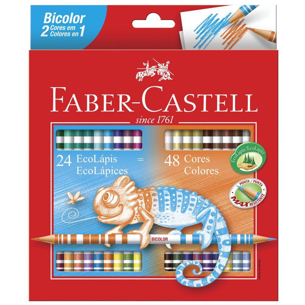 Lápis de Cor 48 Cores Redondo 24 EcoLápis Bicolor Faber Castell