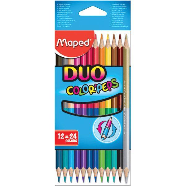 Lapis De Cor DUO com 12 unidades 24 cores Color Peps Maped