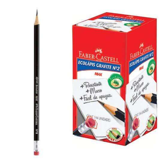 Lápis Preto Faber Castell N.2 Sextavado com Borracha 1205SMB 144 Unidades