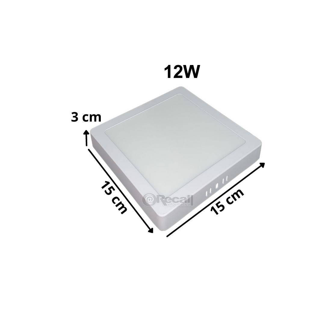 Luminária de LED sobrepor 12w Quadrada Luz Fria 6500K de Teto