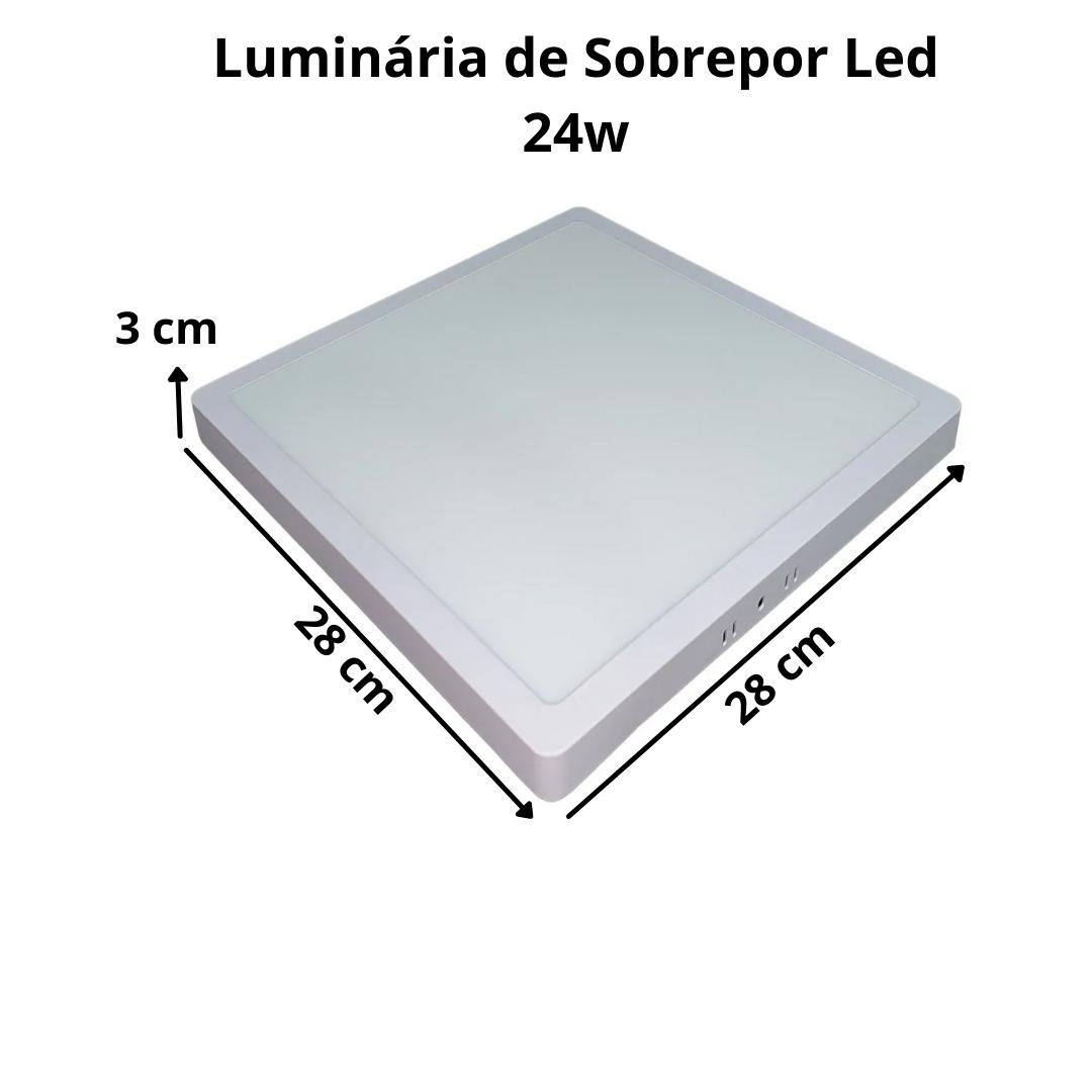 Luminária de LED sobrepor 24w Quadrada Luz Quente 3000K de Teto