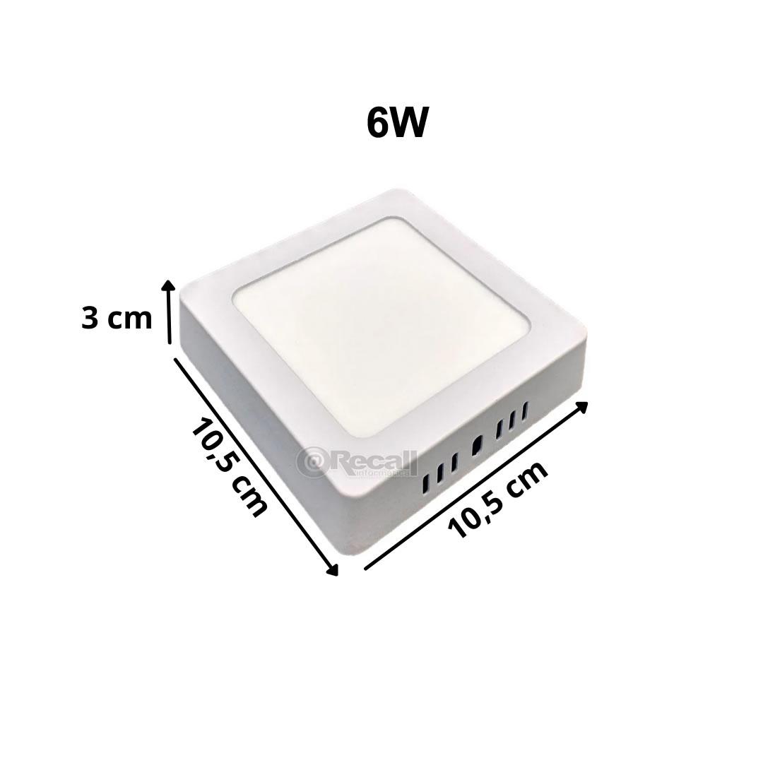 Luminária de LED sobrepor 6w Quadrada Luz Fria 6500K de Teto