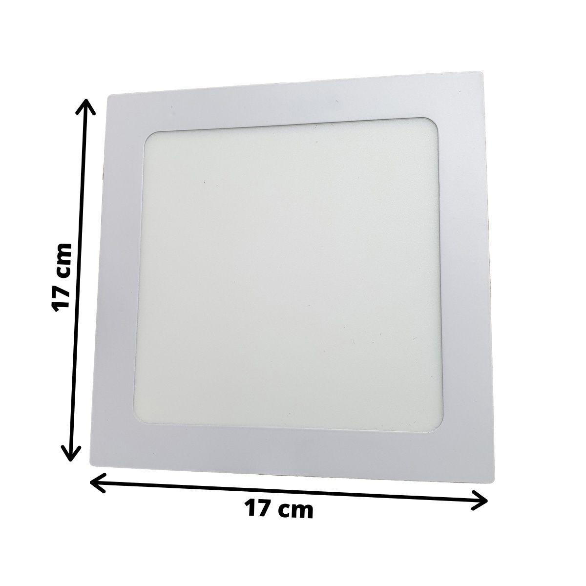 Luminária LED Embutir 12w Quadrada Branco Quente 3000k Plafon