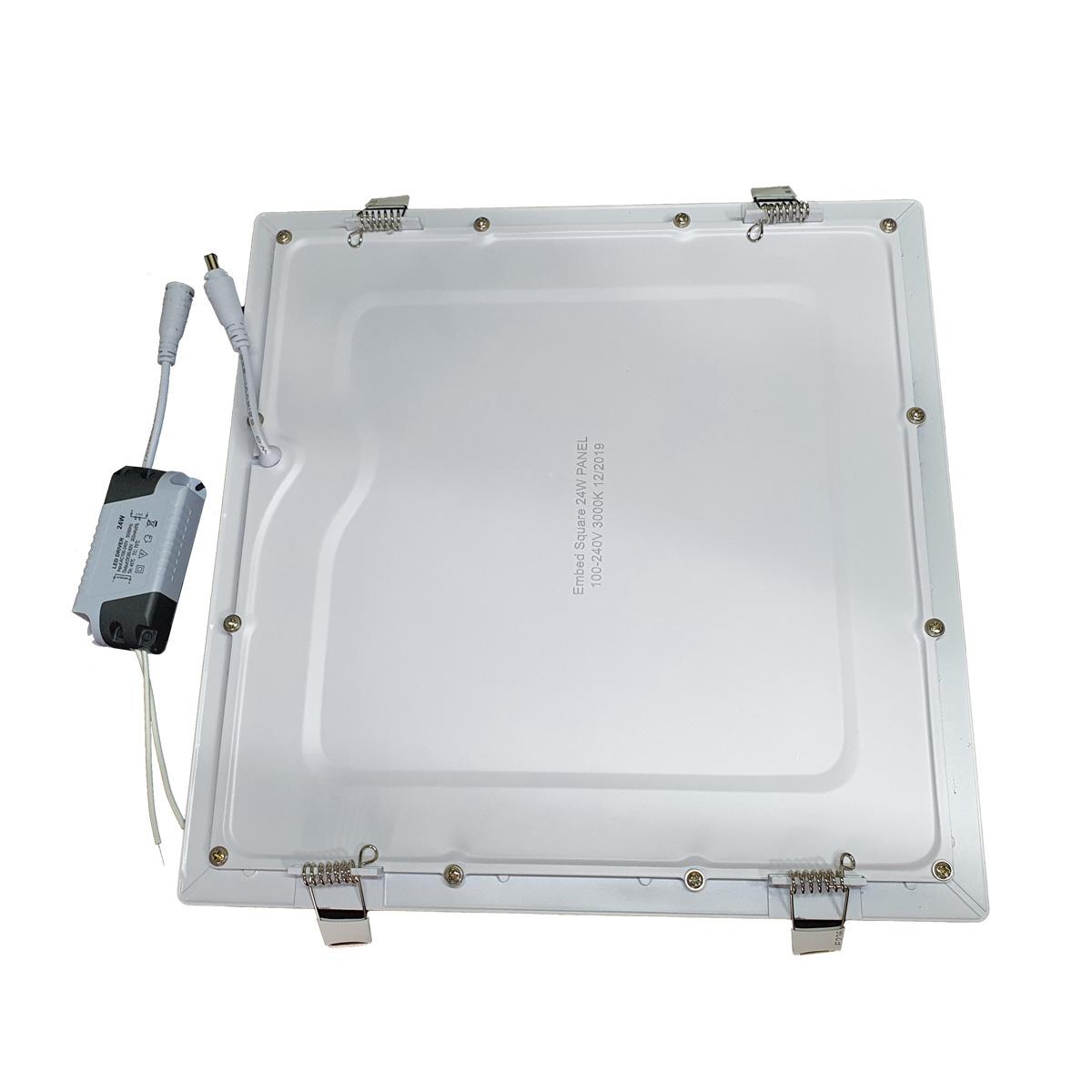 Luminária LED Embutir 24w Quadrada Branco Quente 3000k Plafon