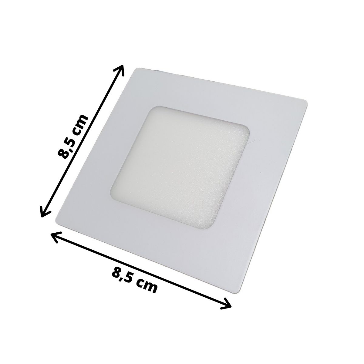 Luminária LED Embutir 3w Quadrada Branco Quente 3000k Plafon