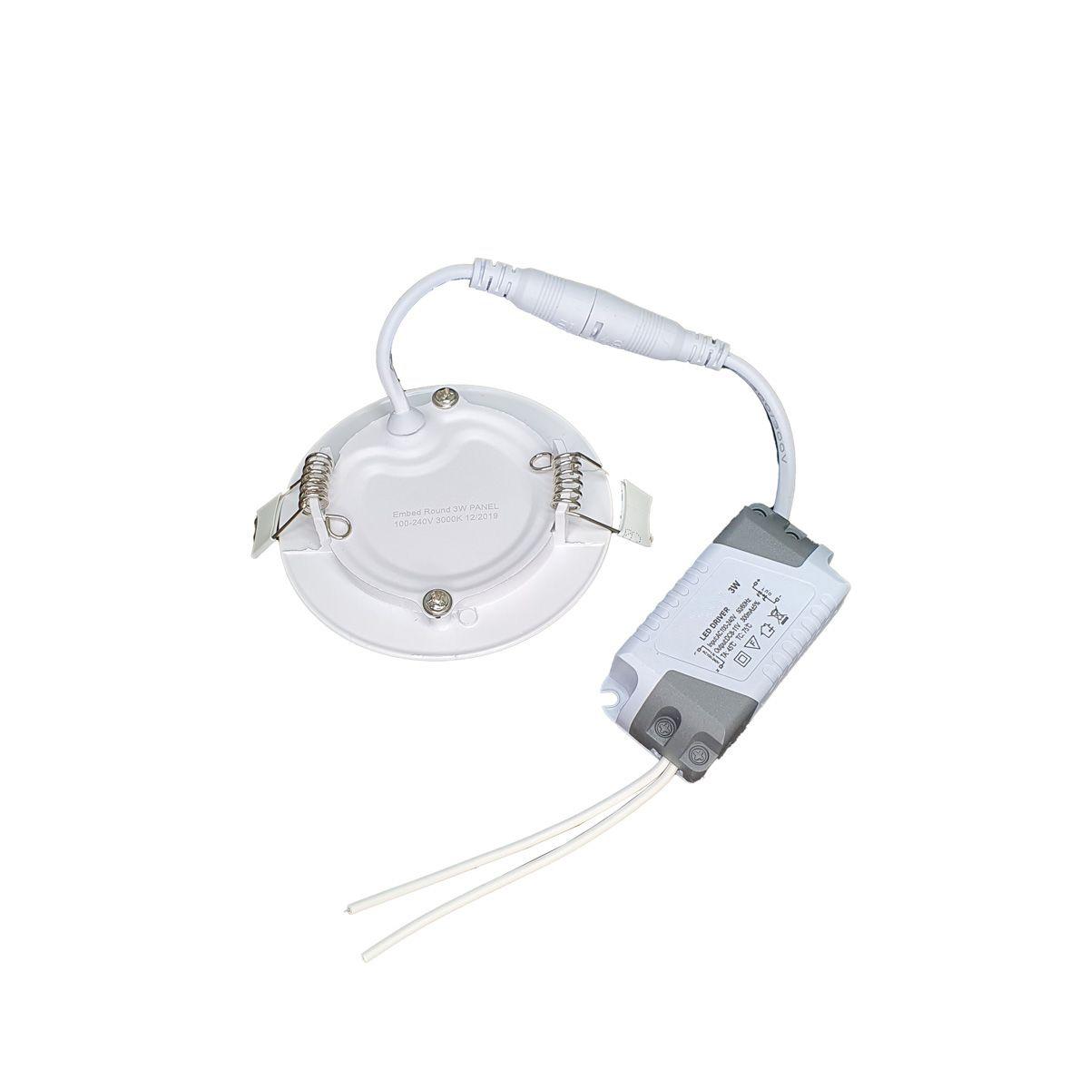 Luminária LED Embutir 3w Redonda Branco Quente 3000k Plafon