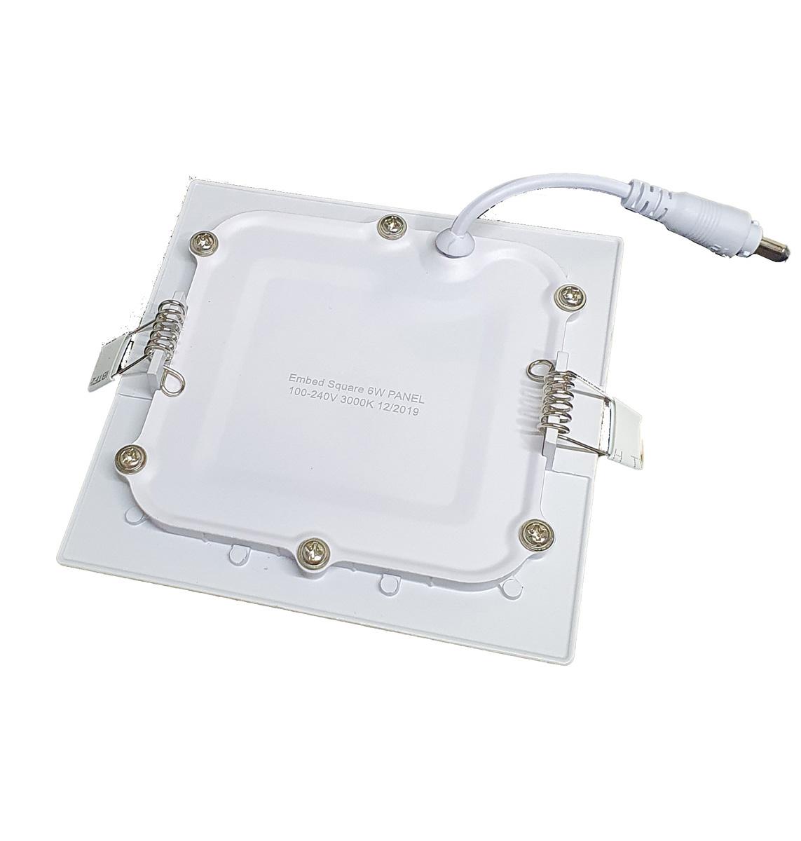 Luminária LED Embutir 6w Quadrada Branco Quente 3000k Plafon