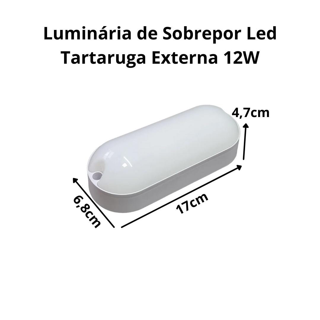 Luminária Tartaruga Arandela Sobrepor de LED Externa 12W 6500k