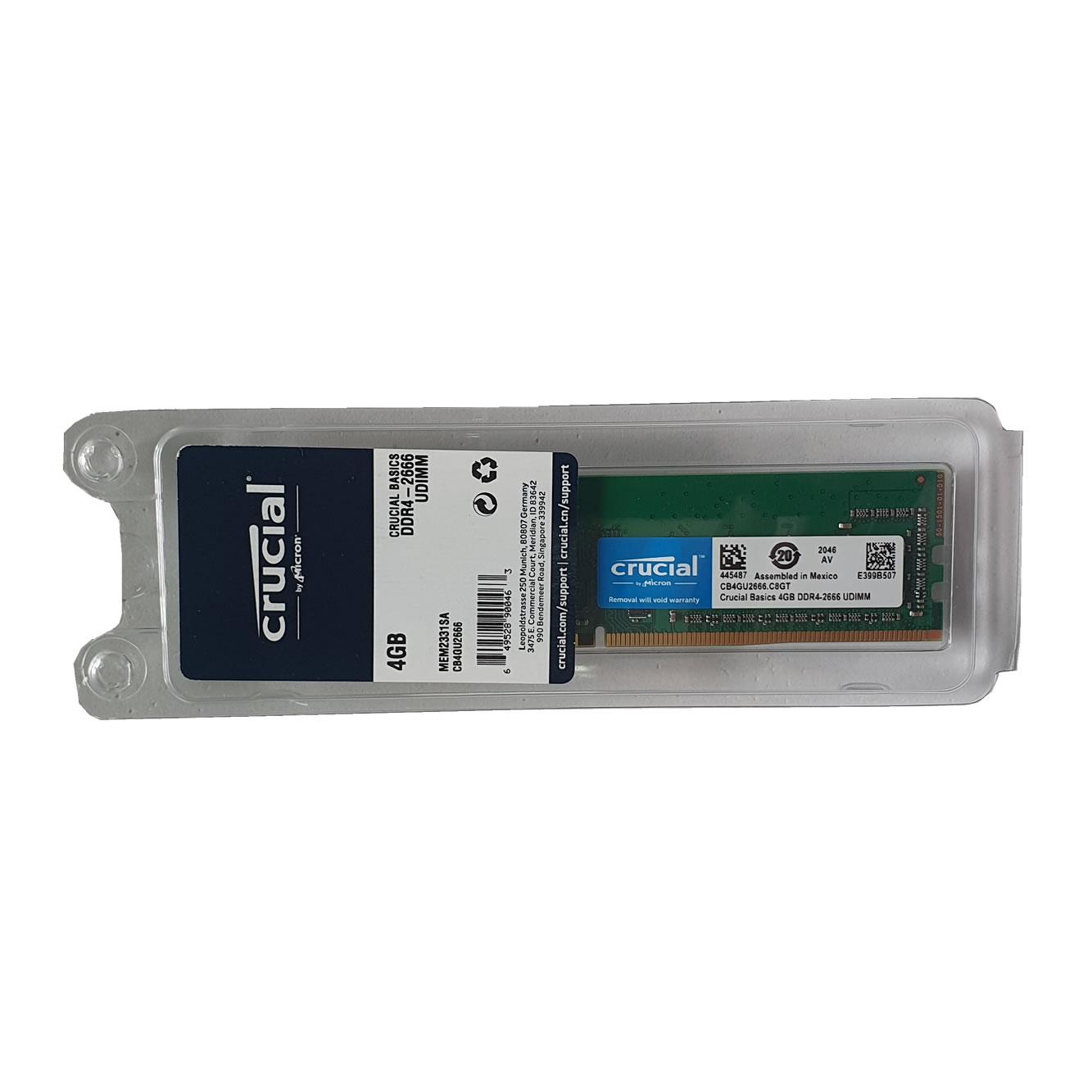 Memória 4GB DDR4 2666MHz CB4GU2666 Crucial Basic