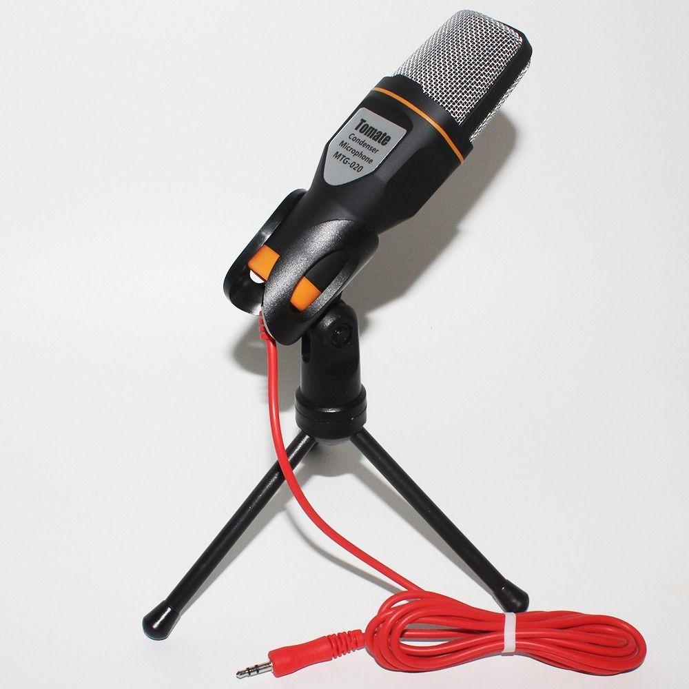MIcrofone condensador com tripe mais adaptador para celular