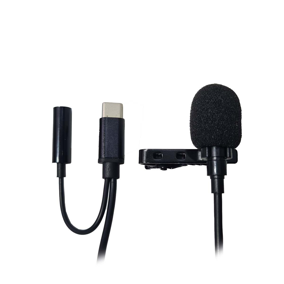 Microfone Condensador de Lapela para Celular Tipo C com Adaptador para Fone