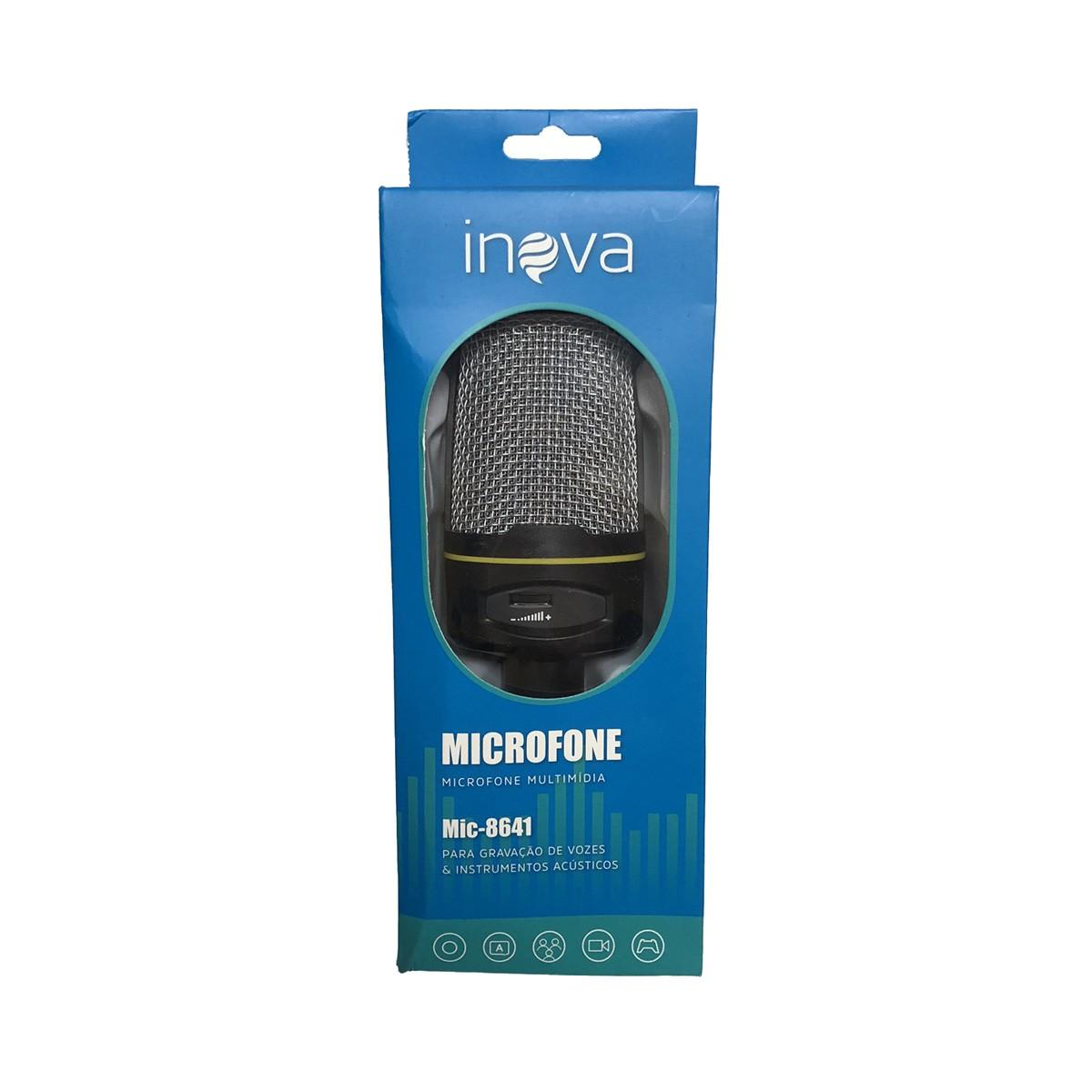 Microfone Condensador Para Gravação No Pc Com Tripe MIC-8641 Inova
