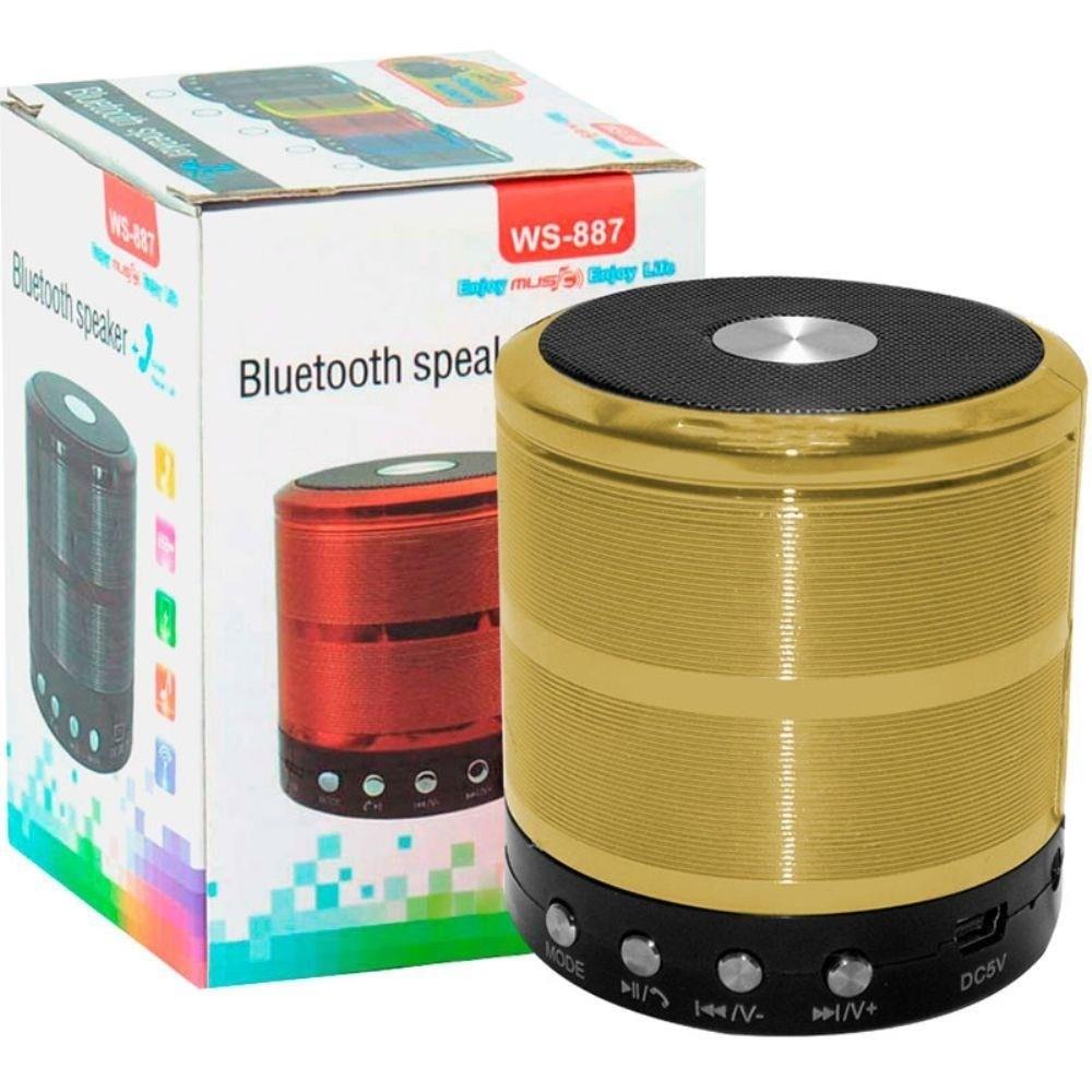 Mini Caixa de Som Portátil Bluetooth Dourada WS-887
