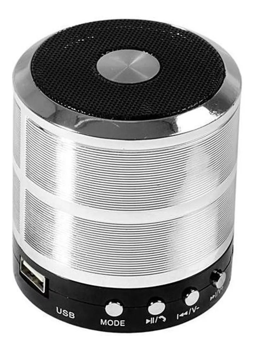 Mini Caixa de Som Portátil Bluetooth Prata WS-887