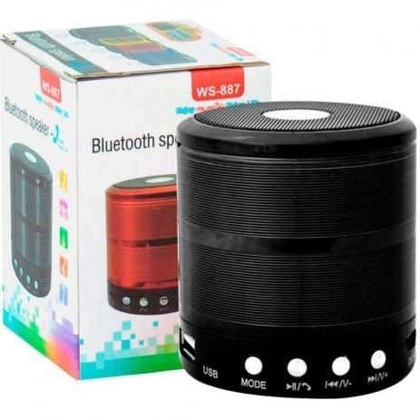 Mini Caixa de Som Portátil Bluetooth Preta WS-887