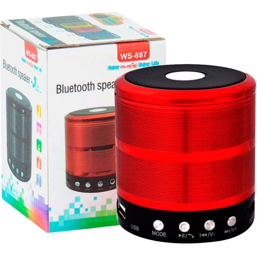 Mini Caixinha Som Bluetooth Portátil Usb Mp3 P2 Sd Rádio Fm Vermelho WS-887