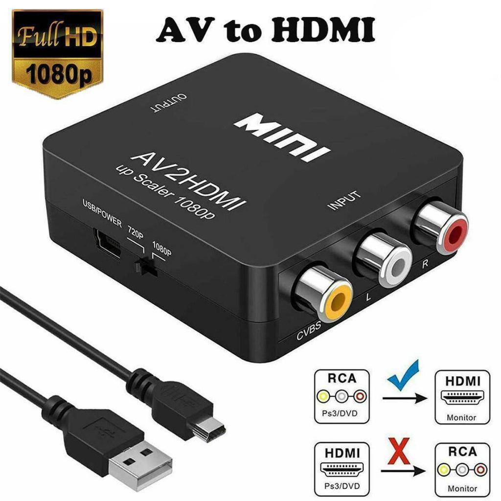 Mini Conversor Adaptador RCA AV para HDMI