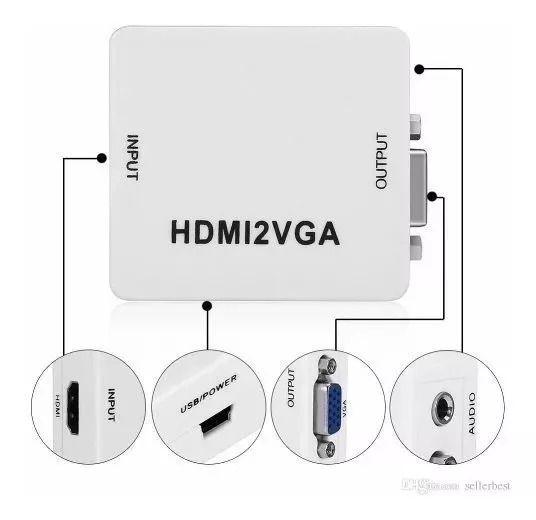 eanxMini Adaptador Conversor HD Vídeo HDMI X VGA HDMI2VGA