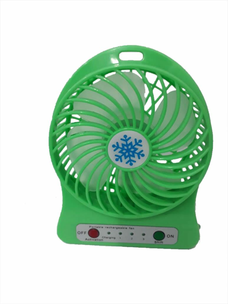 Mini Fan Portatil Recarregavel Verde com lanterna